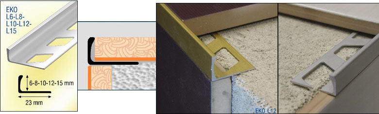 profil pour carrelage en querre aluminium chant droit. Black Bedroom Furniture Sets. Home Design Ideas