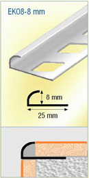 Profil quart de rond profil de finition carrelage aluminium for Angle saillant carrelage